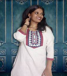 Off White Flax Women Kurti With Front Tabla Printed