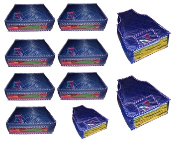 atorakushon® Parachute Combo Saree Cover and Blouse Cover Garments Wardrobe Organizer Set of 10 (Blue)