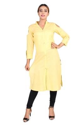 Yellow plain cotton kurtas-and-kurtis