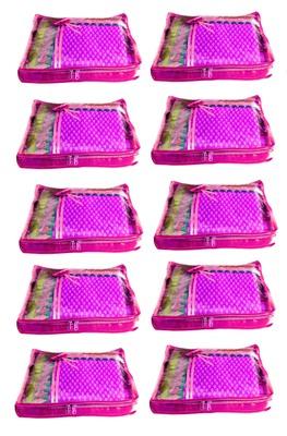 Atorakushon 10Piece Satin Saree Blouse Cover Wardrobe Cloth Bag Garments Cover Travel Organizer Wedding Gift Pink