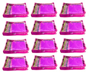 Atorakushon 12Piece Satin  Saree Blouse Cover Wardrobe Cloth Bag Garments Cover Travel Organizer Wedding Gift Pink