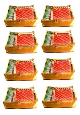 Atorakushon 8Piece Satin  Saree Blouse Cover Wardrobe Cloth Bag Garments Cover Travel Organizer Wedding Gift Gold