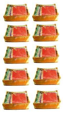 Atorakushon 10Piece Satin  Saree Blouse Cover Wardrobe Cloth Bag Garments Cover Travel Organizer Wedding Gift Gold