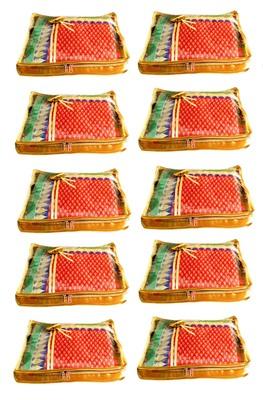 Atorakushon 10Piece Satin  Saree Blouse Cover Wardrobe Cloth Bag Garments Cover Travel Organizer Wedding Gift Gold
