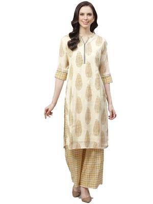 Mustard printed polyester ethnic-kurtis