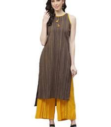 Dark-brown printed cotton ethnic-kurtis