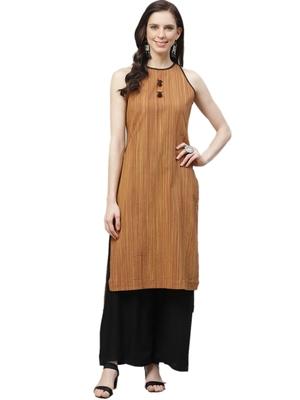 Light-brown printed cotton ethnic-kurtis