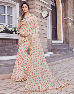 Off white printed silk blend saree with blouse
