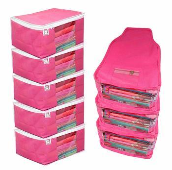 atorakushon® Fabric 5 Saree Cover and 3 Blouse Clothes Storage Bag Wardrobe Garments Organiser (Pink)