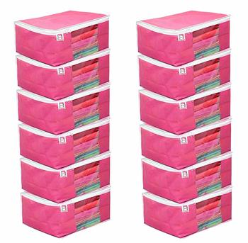atorakushon Fabric 12 Piece Saree Cover Clothes Storage Bags Garments Wardrobe Organiser (Pink)
