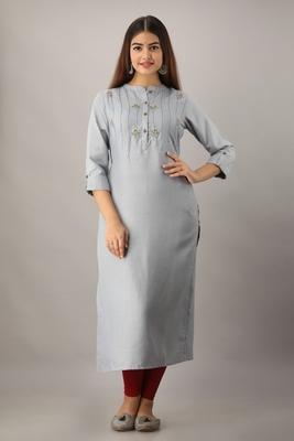 Women's  Grey Rayon Embroidered Straight Kurta