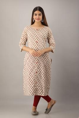 Women's  Beige Cotton Geometric Straight Kurta