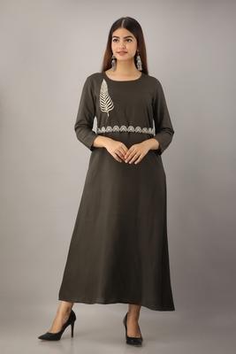 Women's  Grey Rayon Embroidered A-Line Kurta Dress