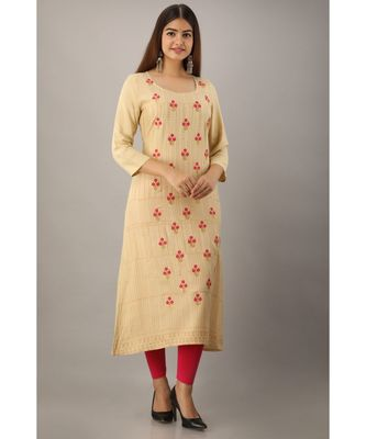 Women's  Beige Rayon Printed & Embroidery A-Line Kurta