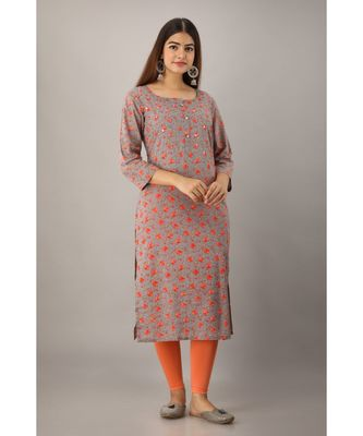 Women's  Grey Cotton Floral Straight Kurta