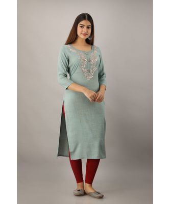 Women's  Teal Grey Rayon Slub Embroidered Straight Kurta