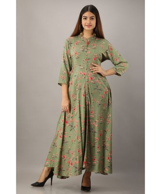 Women's  Green Rayon Floral Flared Kurta Dress