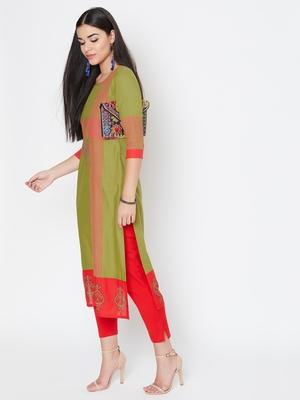 Green printed cotton kurtas-and-kurtis