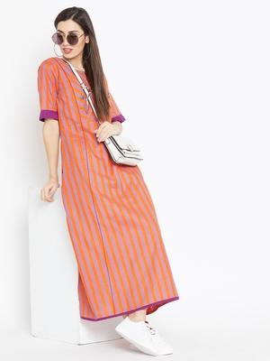 Multicolor striped cotton kurtas-and-kurtis