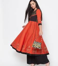 Orange printed cotton kurtas-and-kurtis