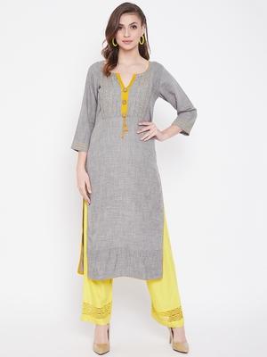 Grey printed cotton kurtas-and-kurtis