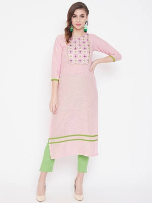 Pink embroidered cotton kurtas-and-kurtis