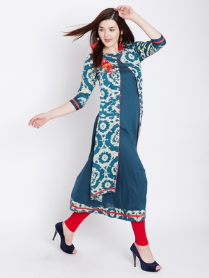 Teal blue printed rayon kurtas-and-kurtis