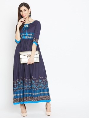 Navy blue printed cotton kurtas-and-kurtis