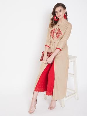 Beige embroidered rayon kurtas-and-kurtis