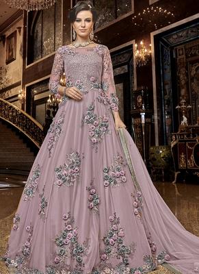 Light Pink Net Anarkali Salwar Kameez