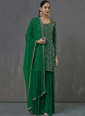 Green Georgette Pakistani Salwar Kameez