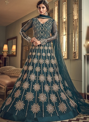 Teal Butter Fly Net  Wedding Salwar Kameez