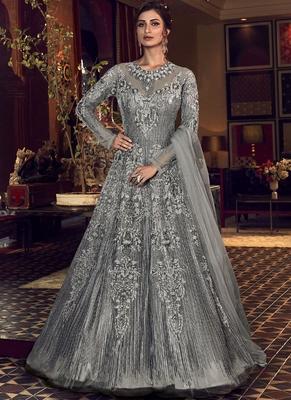 Grey Butter Fly Net  Wedding Salwar Kameez