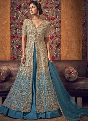 Beige Butter Fly Net  Wedding Salwar Kameez