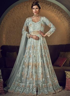 Sky Blue Butter Fly Net  Wedding Salwar Kameez
