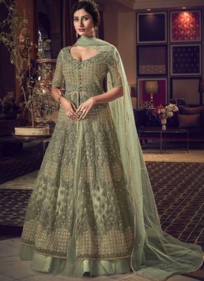 Sea Green Butter Fly Net  Wedding Salwar Kameez