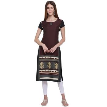 Maroon printed crepe ethnic-kurtis