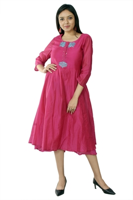 Pink embroidered chanderi ethnic-kurtis