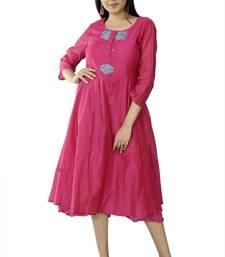 Pink embroidered chanderi ethnic-kurtis