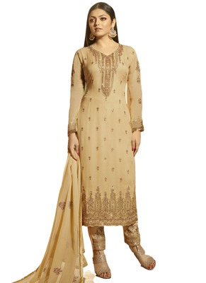Beige Embroidered Georgette semi stitched sawlar with dupatta