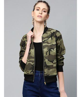 Green Camouflage Bomber Zipper Jacket