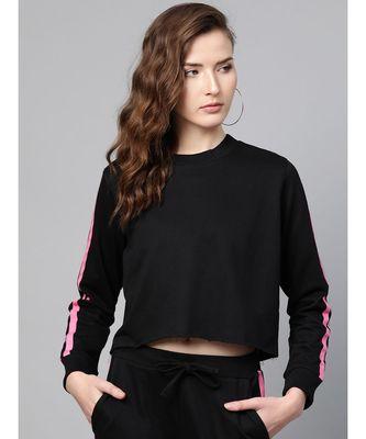 Black Double Tape Boxy Crop Sweatshirt