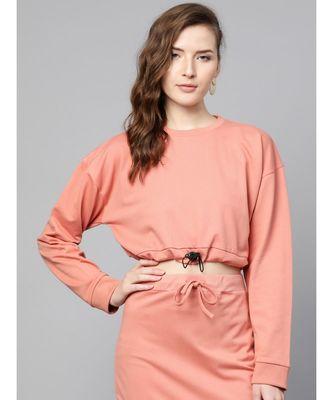 Peach Drawstring Crop Sweatshirt
