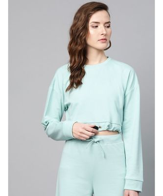 Sea Green Drawstring Crop Sweatshirt