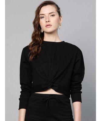 Black Terry Twisted Crop Sweatshirt