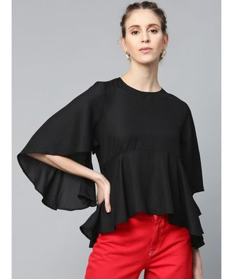 Black Flared Sleeve Cape Top