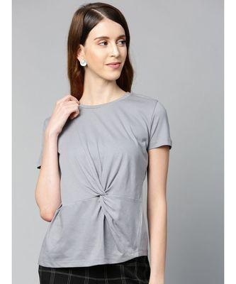 Grey Twisted Knot Regular T-Shirt