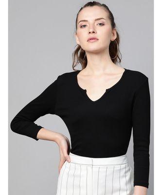 Black Rib V-Neck T-Shirt