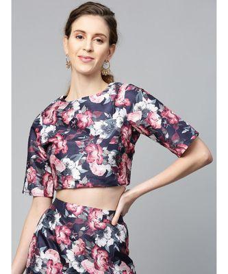 Navy Floral Crop Top