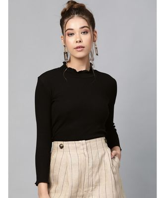 Black Rib Turtle Neck Crop Top